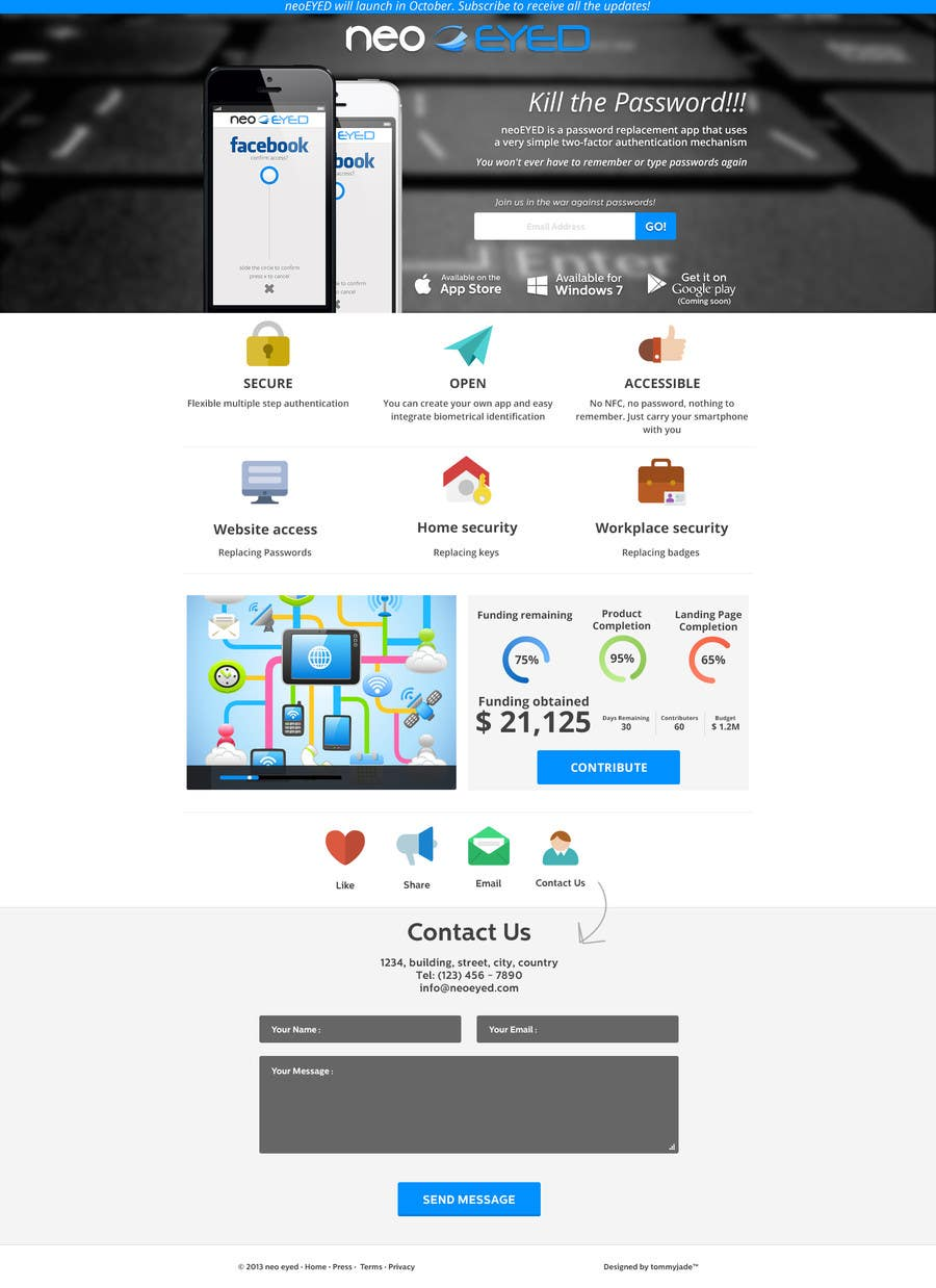 #38 for Create a landing page for neoEYED by tommyjade