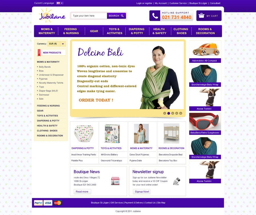 Конкурсная заявка №5 для Custom Oscommerce Template - Jubilane Website Design