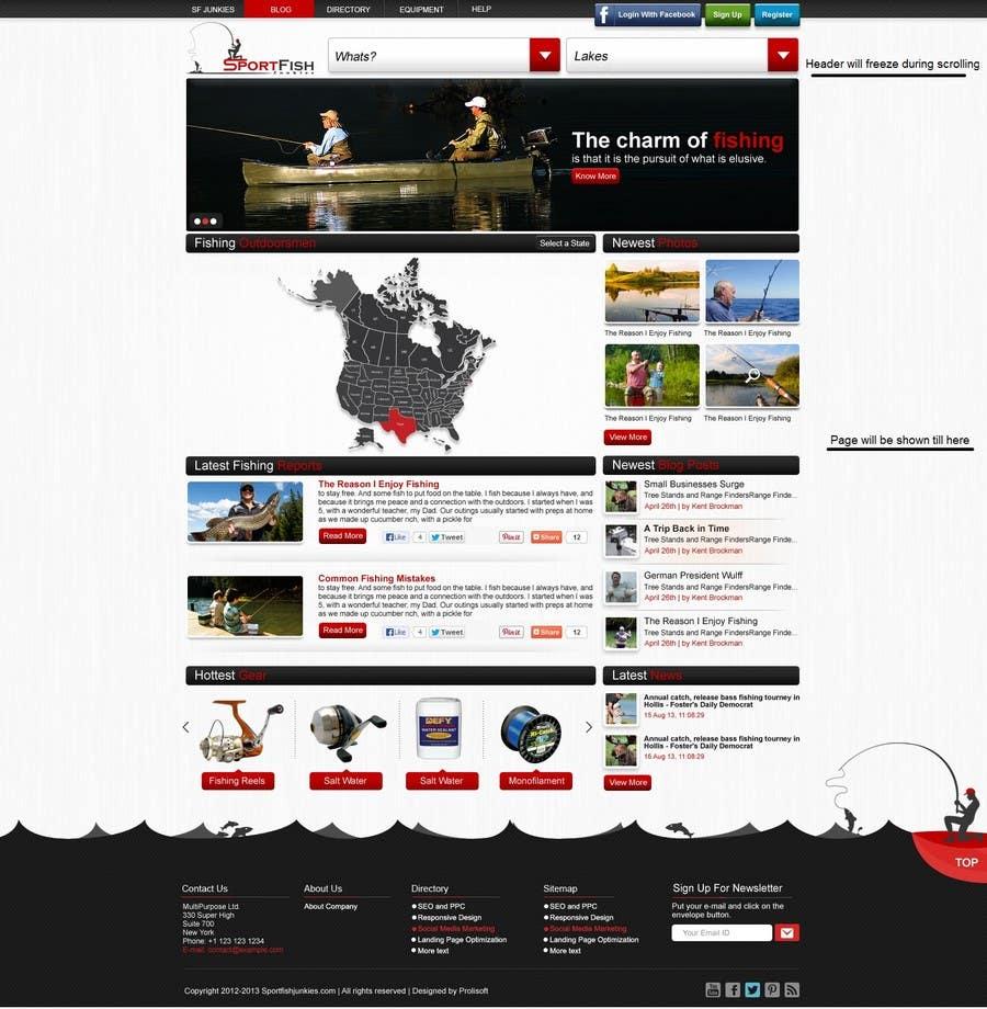 Kilpailutyö #7 kilpailussa Design a Website Mockup for Sport Fish Junkies
