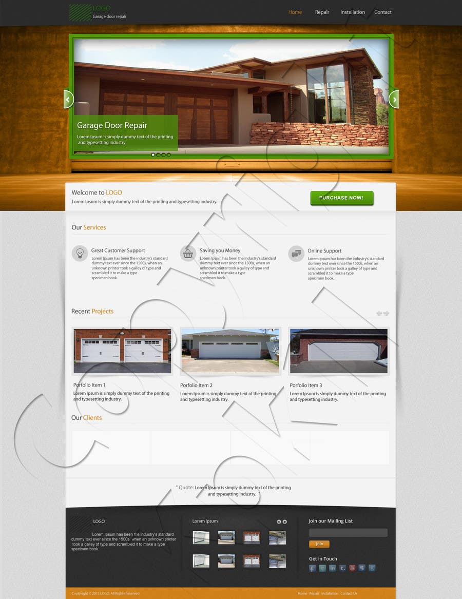 #7 for Create a Wordpress Template for Garage Door Guys responsive website by kpk1l