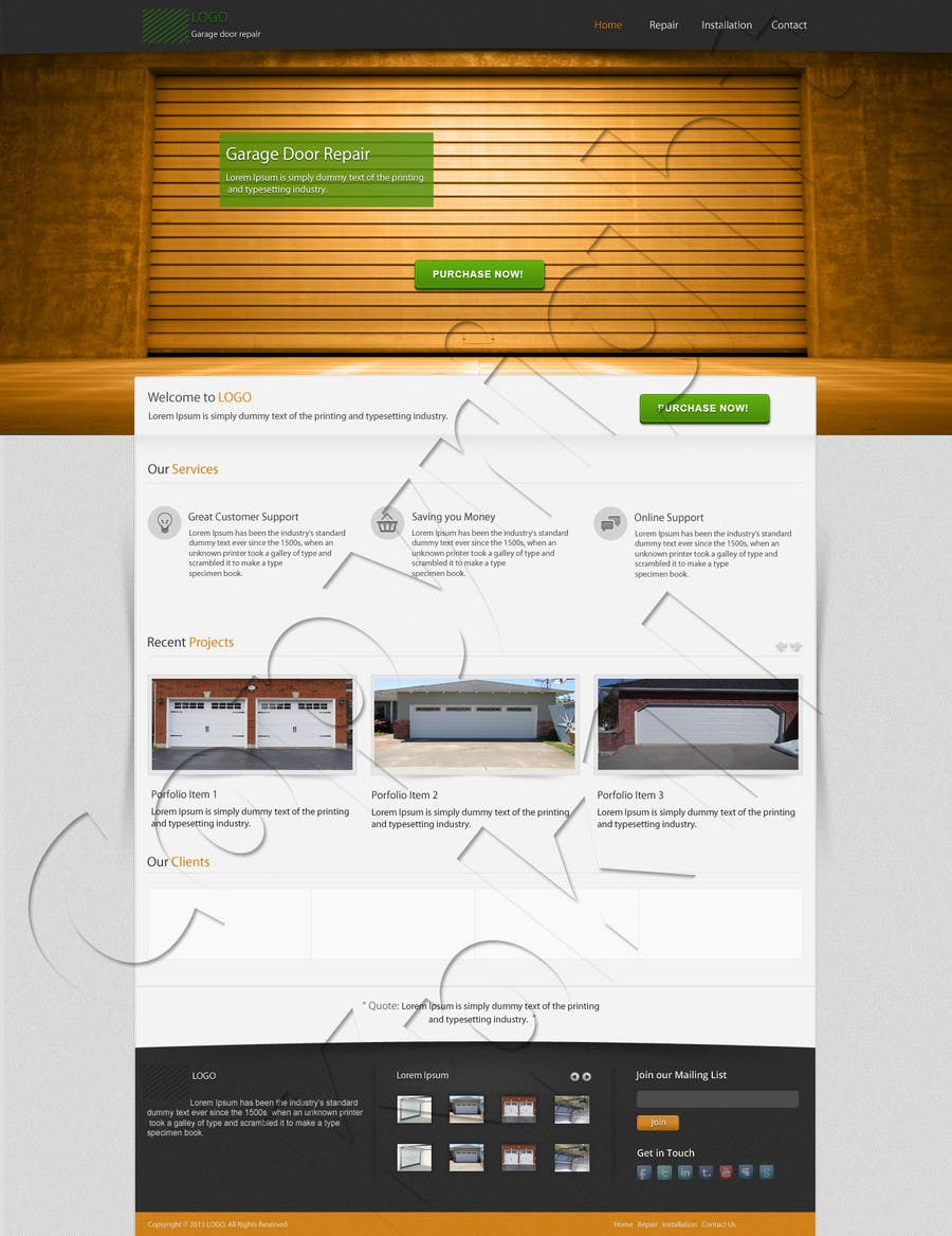 #8 for Create a Wordpress Template for Garage Door Guys responsive website by kpk1l