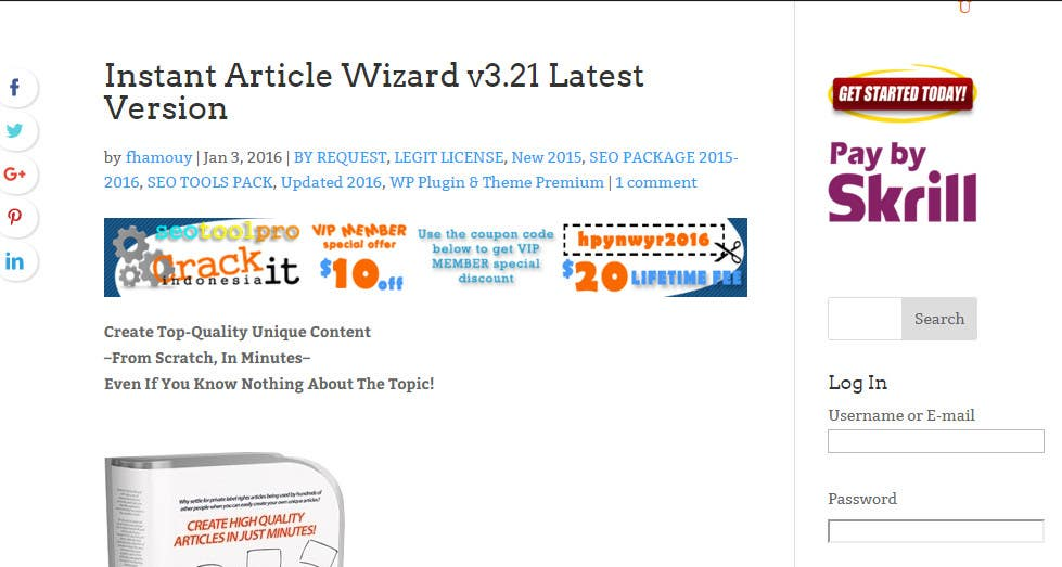 Instant article wizard 3 21 registration key