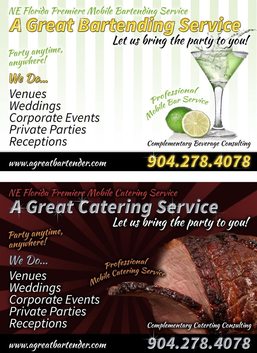 #39 for Design a Flyer for Catering and a Bartending Business - Future Work Needed Also by davidgraeme
