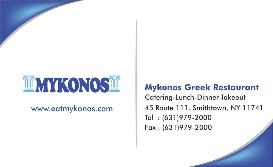 #6 for Design some Business Cards for Mykonos Greek Restaurant by vcvidath