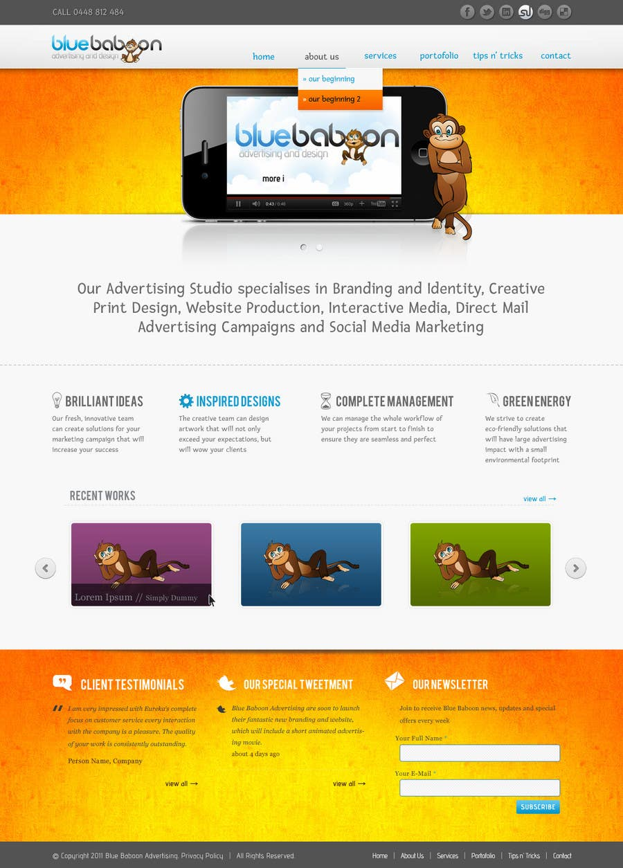 Inscrição nº                                         54                                      do Concurso para                                         Wordpress Theme Design for Blue Baboon Advertising