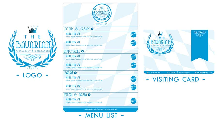 #17 for Design a Menu and Business Card for a Bavarian Restaurant and Beer Garden by SubodhStha