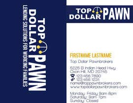 #126 untuk Business Card Design for Top Dollar Pawnbrokers oleh JoleenC