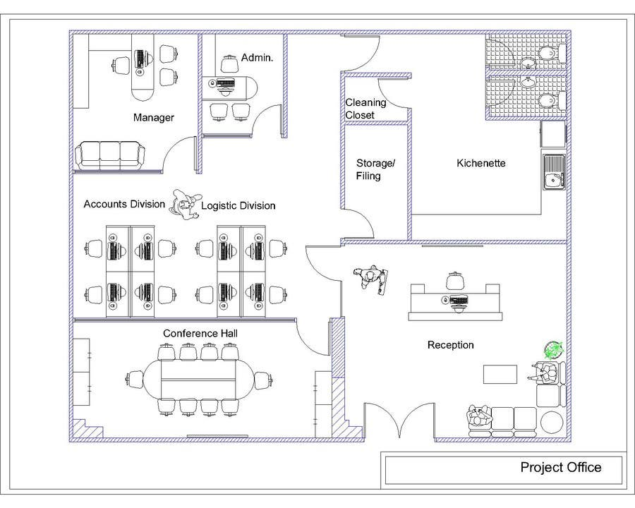 Autocad layout office freelancer for Office layout plan design