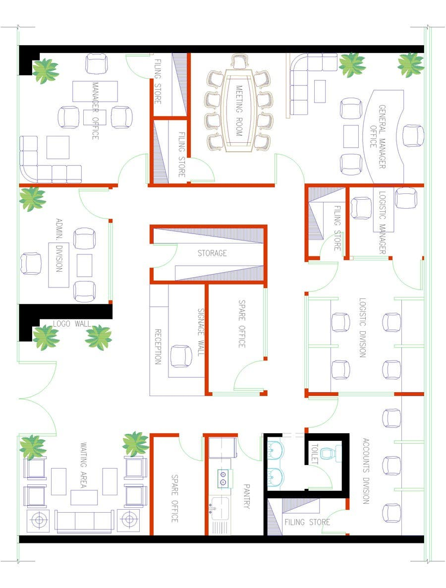 Autocad layout office freelancer for Room layout website