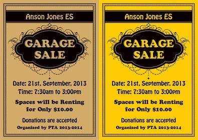 "#12 for Design an Advertisement for Anson Jones ES ""Garage Sale"" by linokvarghese"