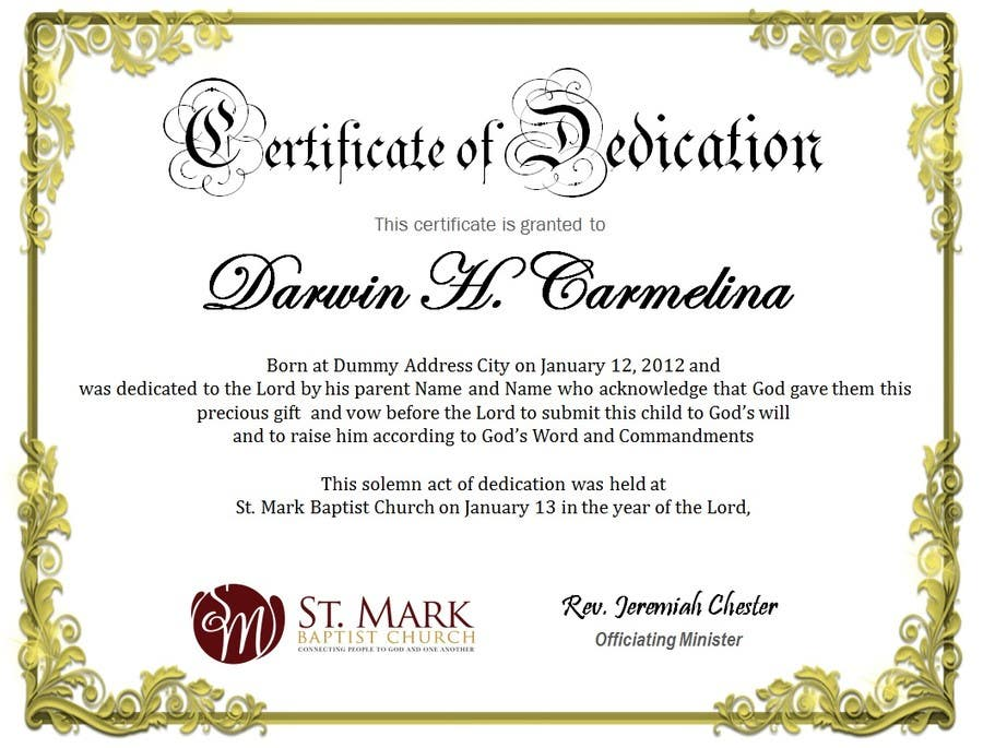 Entry 2 By Margeletteb For Baby Dedication Certificate Freelancer