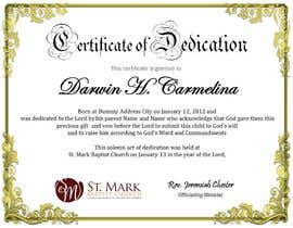 #2 For Baby Dedication Certificate By Margeletteb