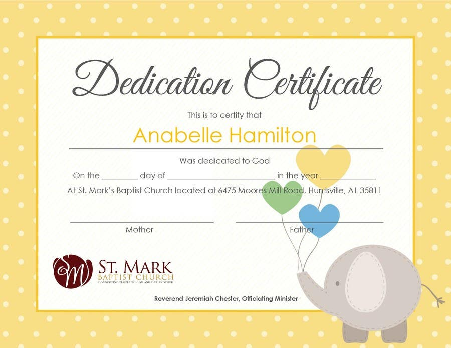 Entry 17 By Sunsum For Baby Dedication Certificate Freelancer