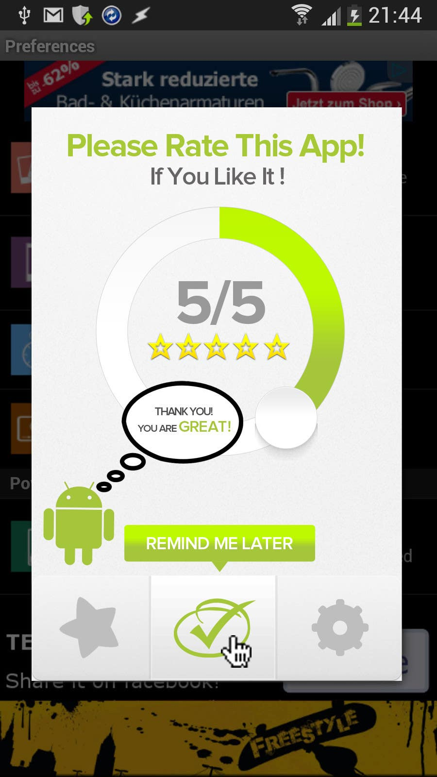 #13 for Rating Motivation Screen for Android App by aliraza91