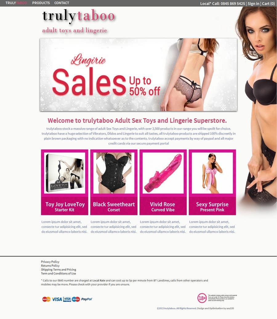 #4 for Design an amazing front page for an adult toys website. by meerainc