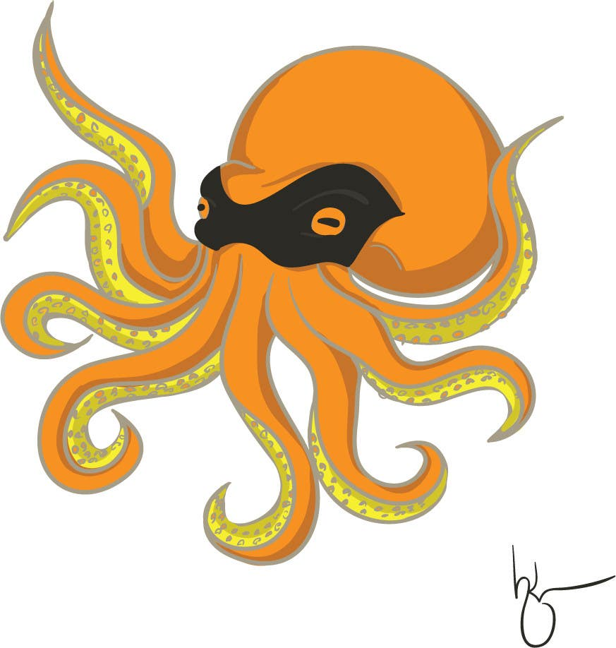 Contest Entry #2 for Design a bandit mask wearing octopus!