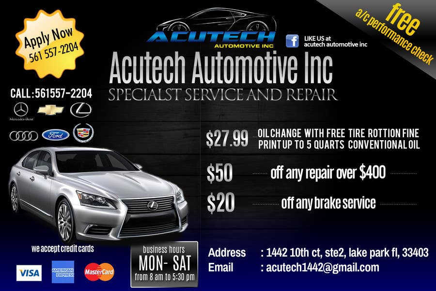 #14 for Design a Flyer for automotive repair shop 4x6 by dindinlx