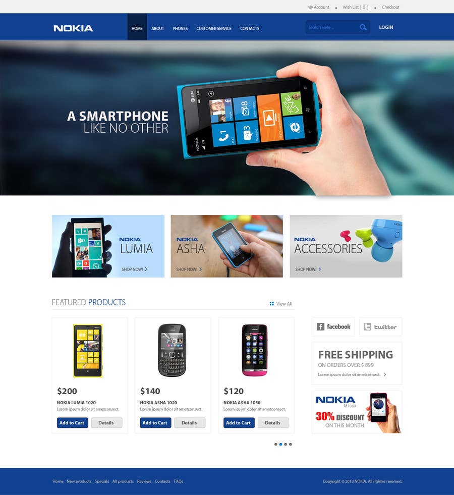 #56 for Design a Website Mockup for Nokia Online Shop - repost by mdmonirhosencit