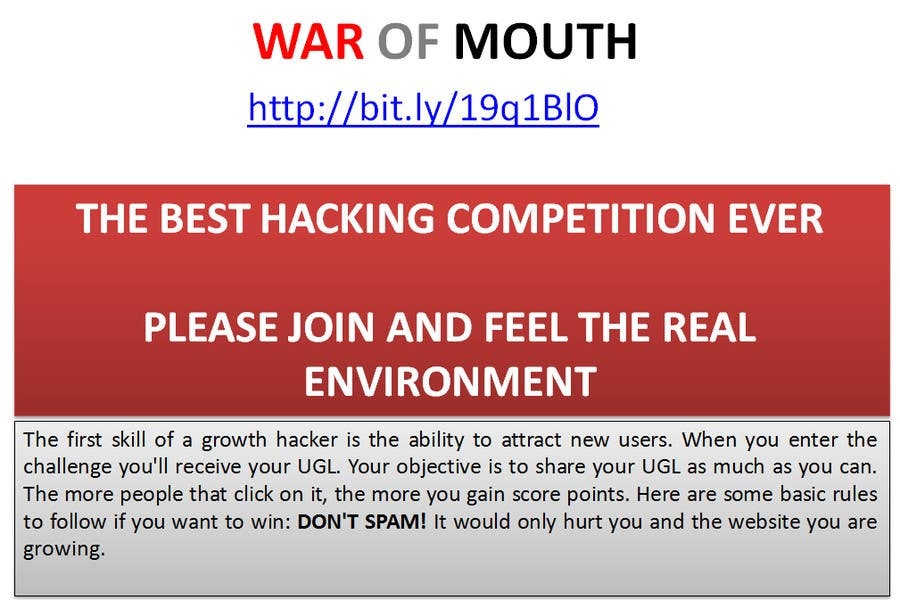 #8 for WOM - Prove your growth hacking skills (3rd place) by vw8025598vw