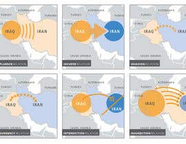 Nro 18 kilpailuun Navigational Compass Mini-Infographic for Middle East Research Paper showing Country Relationships käyttäjältä masee00