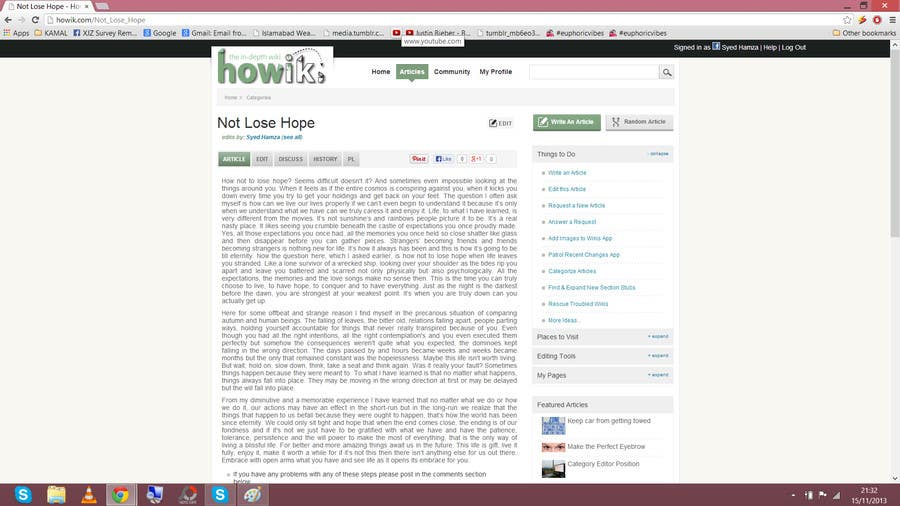 #21 for Write some Articles for howik.com to win $ + Junior Editor Position by Syedhamzaa