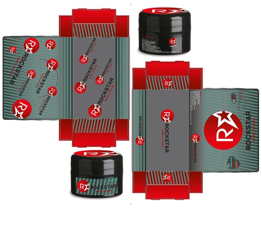 Kilpailutyö #                                        28                                      kilpailussa                                         Print & Packaging Design for Rockstar Herbal Incense