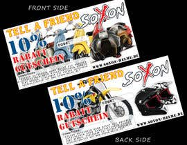 #6 untuk Voucher Design graphic front & Back for helmet brand Size: 7x14cm oleh janithnishshanka