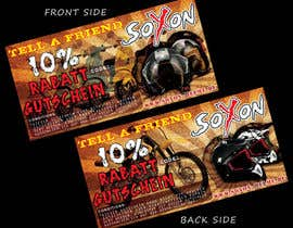 #9 untuk Voucher Design graphic front & Back for helmet brand Size: 7x14cm oleh janithnishshanka