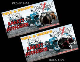 #10 untuk Voucher Design graphic front & Back for helmet brand Size: 7x14cm oleh janithnishshanka