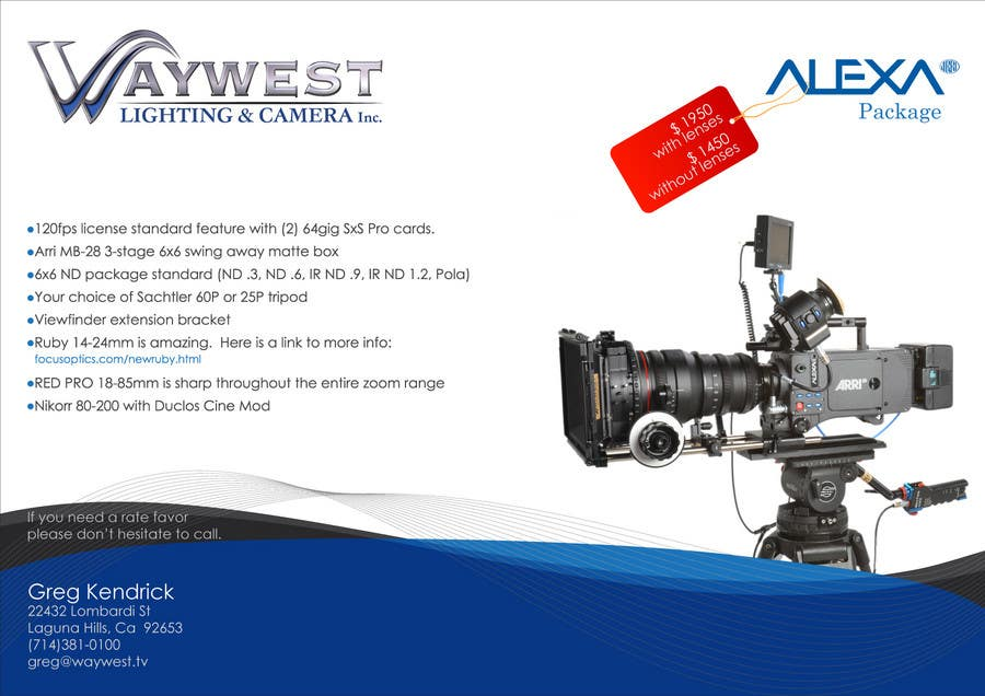 Contest Entry #                                        24                                      for                                         Sales Email Brochure Design for Waywest Lighting & Camera Inc.