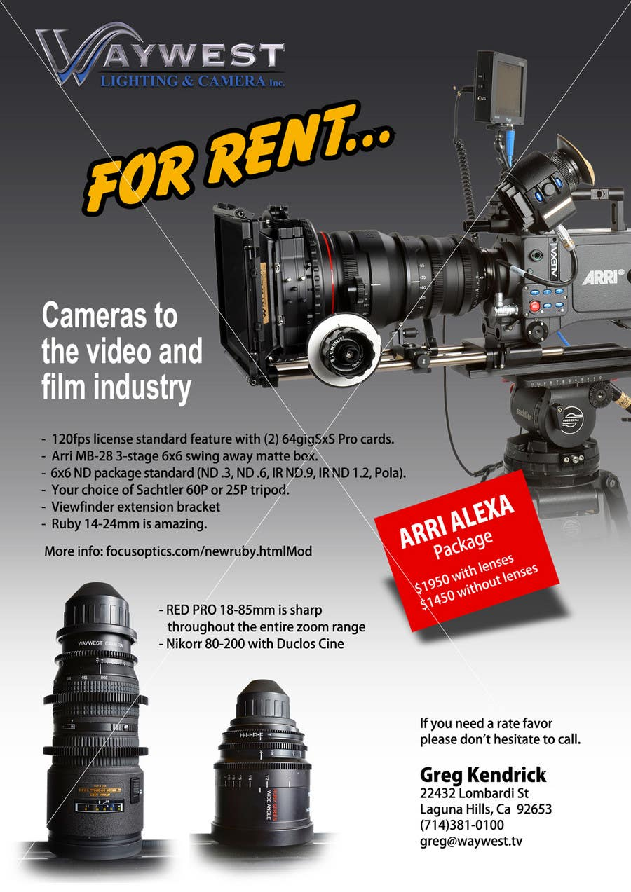 Contest Entry #                                        1                                      for                                         Sales Email Brochure Design for Waywest Lighting & Camera Inc.