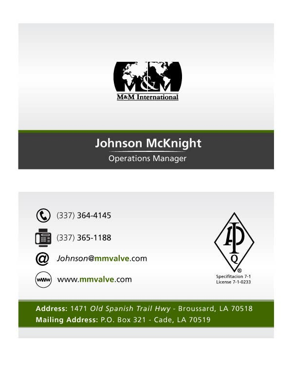 Penyertaan Peraduan #166 untuk Business Card Design for M&M International