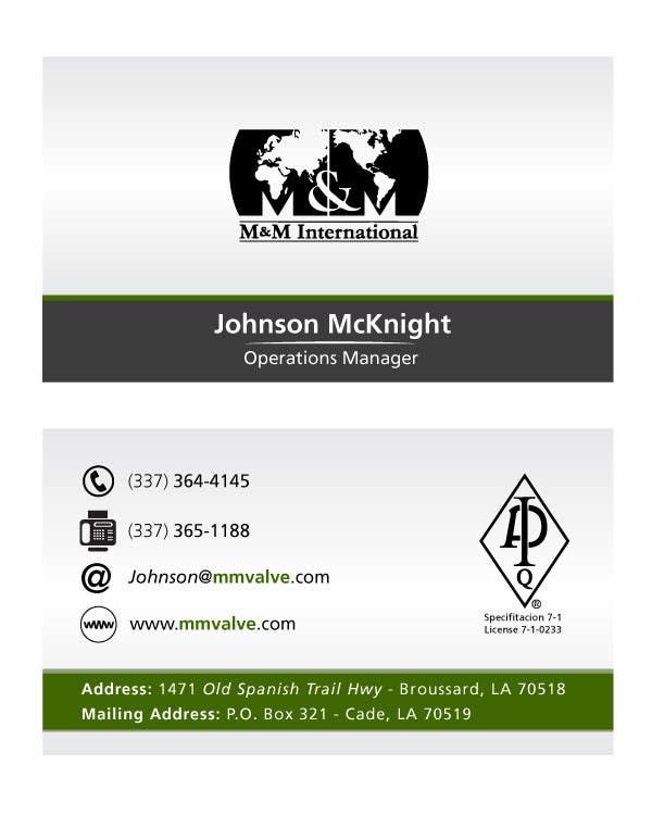 Kilpailutyö #167 kilpailussa Business Card Design for M&M International