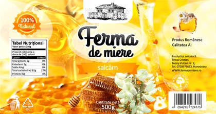 #70 for Label design for Honey Jar (eticheta miere) by catalinorzan