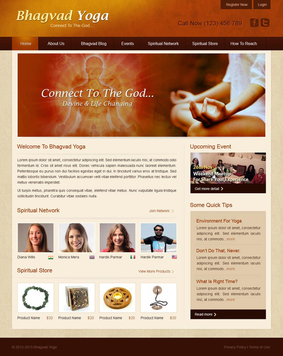 #34 for Design a Website Mockup for Bhagvad Yoga Website by uniqueclick