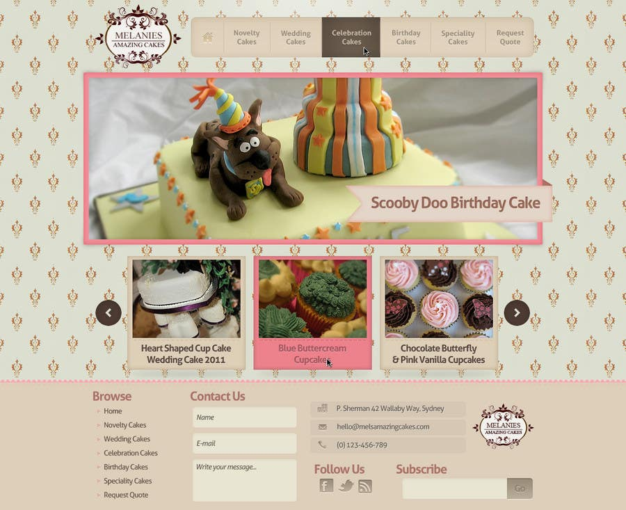 Contest Entry #                                        46                                      for                                         Wordpress Theme Design for Melanies Amazing Cakes