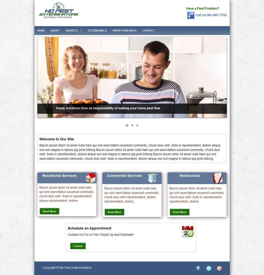 #22 for Build a Website/Splash page for No Pest Exterminators Inc. by experienced7