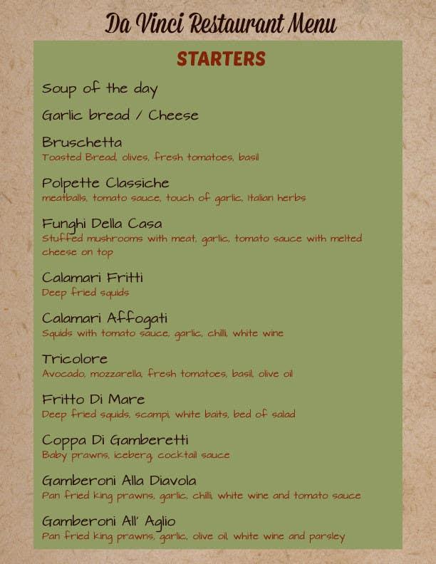 #4 for Menu for Italian Restaurant by danadanieladana
