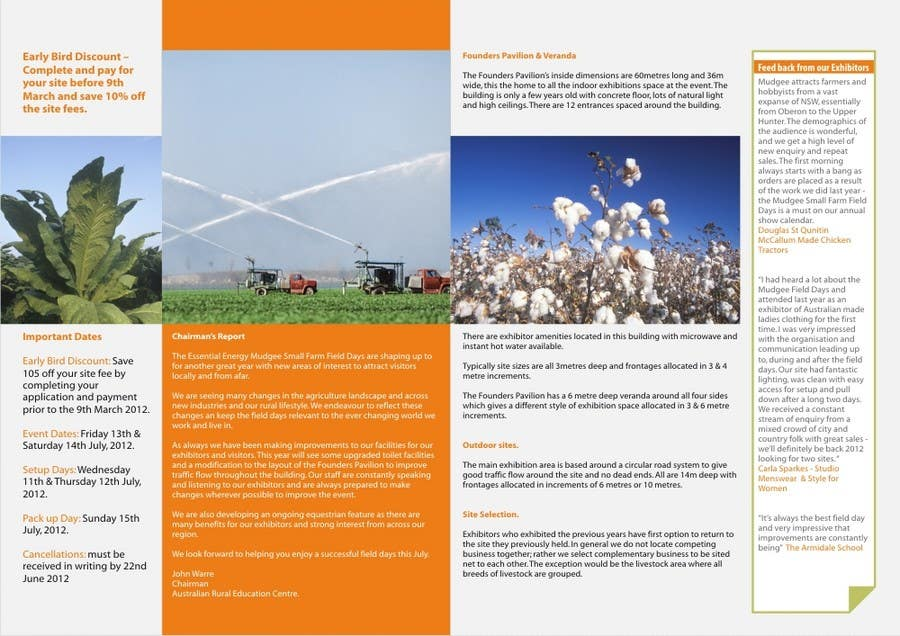 Конкурсная заявка №5 для Brochure Design for Mudgee Small Farm Field Days