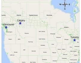 Nro 8 kilpailuun Create a Locations Map of Canada With 3 Points käyttäjältä xtxskif