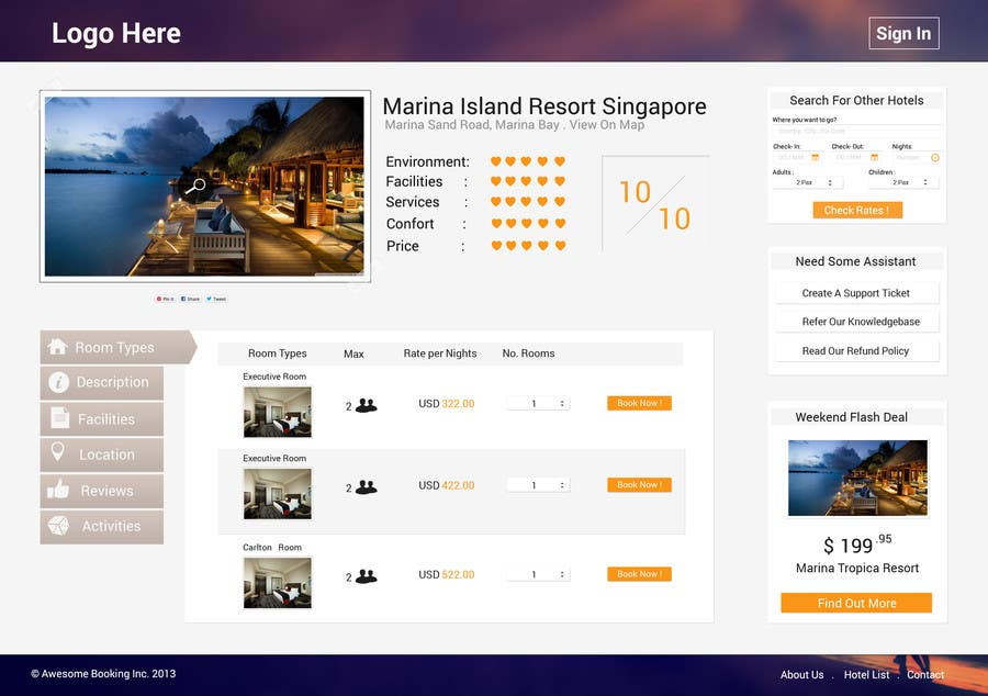 Contest Entry #16 for Hotel booking website mockup