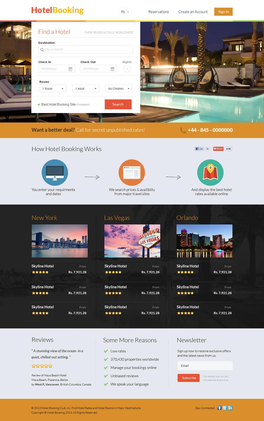 Конкурсная заявка №22 для Hotel booking website mockup