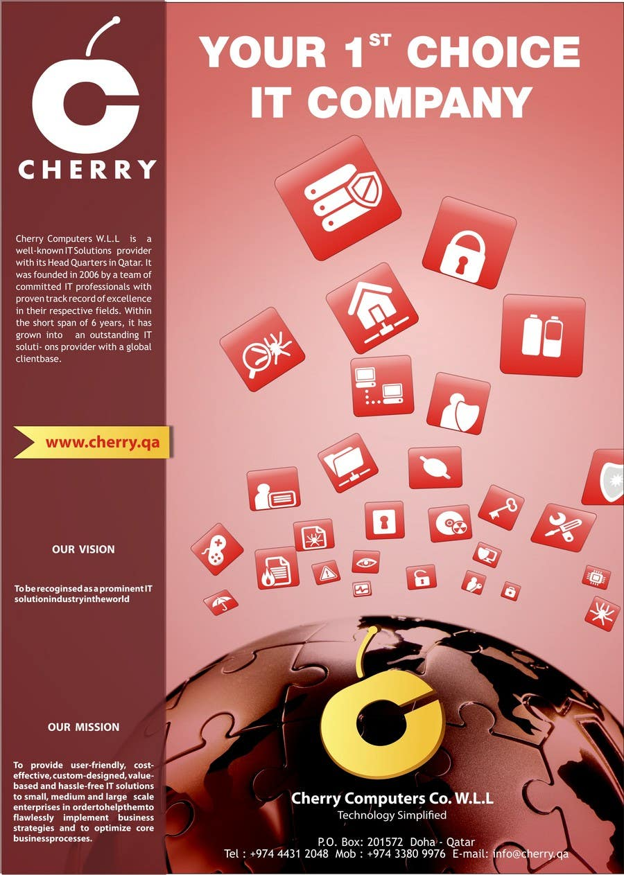 Penyertaan Peraduan #34 untuk Brochure Design for Cherry Computers Co. W.L.L.