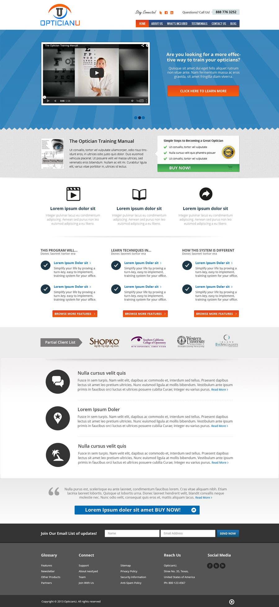 Penyertaan Peraduan #                                        5                                      untuk                                         Design a Website Mockup for www.OpticianTraining.com