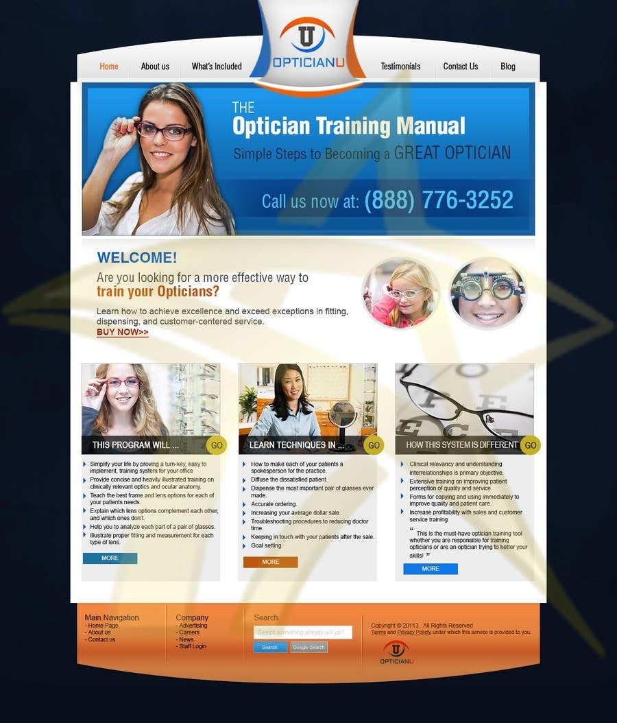 Penyertaan Peraduan #                                        7                                      untuk                                         Design a Website Mockup for www.OpticianTraining.com
