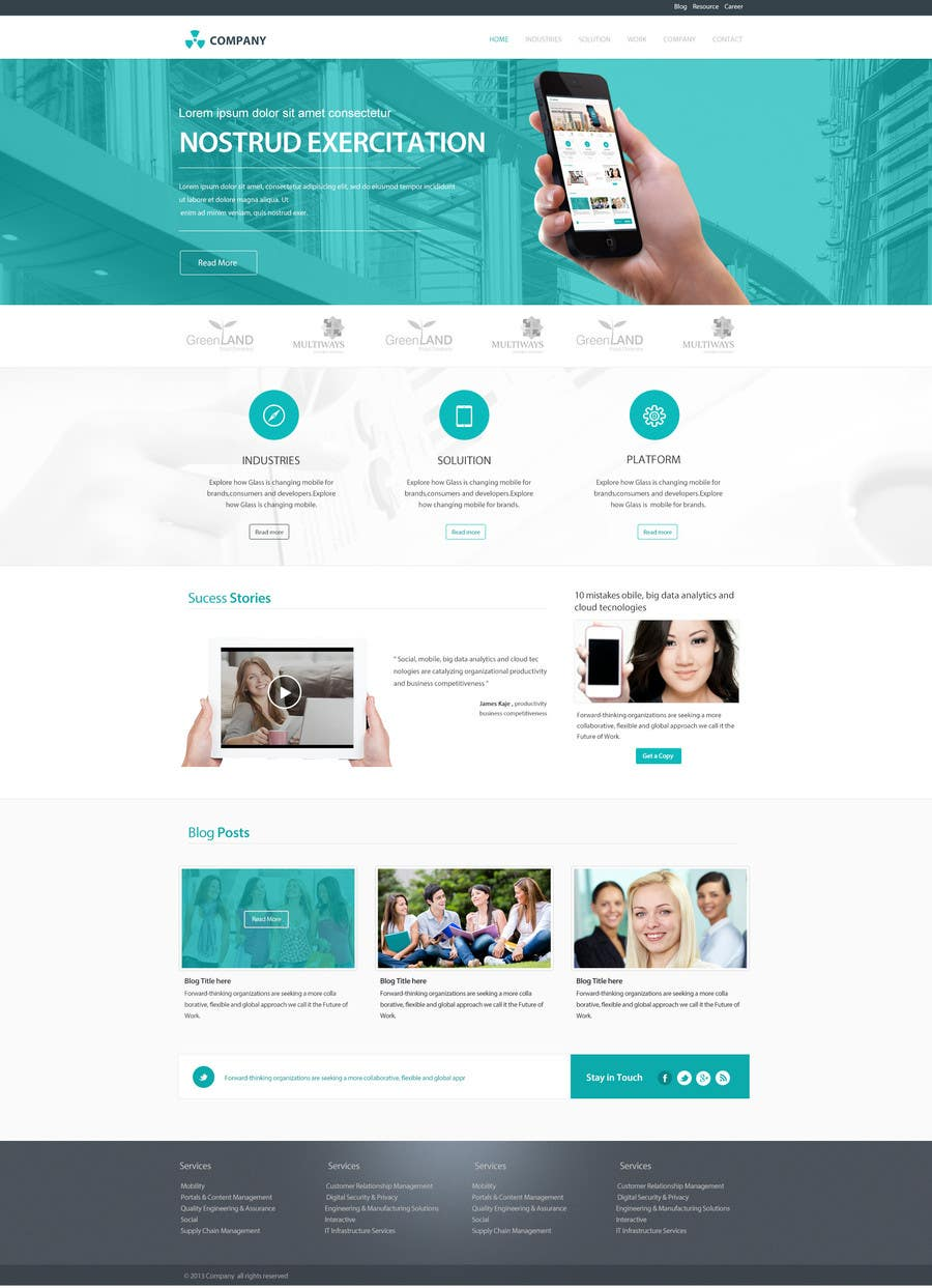 #23 for Home Page Design for a Corporate Site ( Would evolve into long term contract) by SadunKodagoda