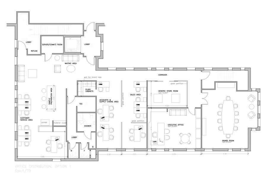Kilpailutyö #6 kilpailussa Office Floorplan Design