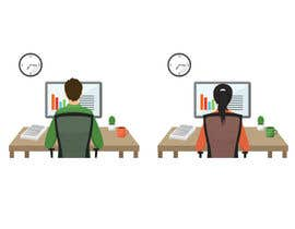 VitalinaLitvin tarafından Man with green shirt sit on office chair in front of table with one monitor için no 58
