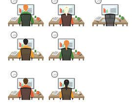 VitalinaLitvin tarafından Man with green shirt sit on office chair in front of table with one monitor için no 102