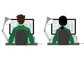 Igladesign tarafından Man with green shirt sit on office chair in front of table with one monitor için no 27